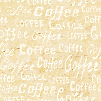 ベージュの古い紙の表面に「コーヒー」の文字が付いたシームレスなコーヒーパターン
