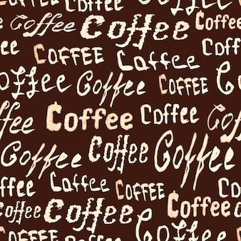 ダークブラウンの表面にコーヒーのレタリングとシームレスなコーヒーパターン
