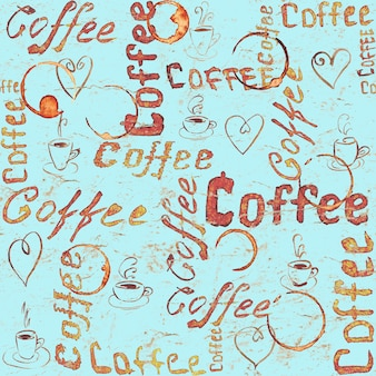 Seamless coffee pattern with lettering, hearts, coffee cups and cups traces on turquoise vintage paper surface