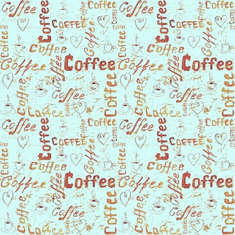 Seamless coffee pattern with lettering, hearts and coffee cups on turquoise vintage paper surface