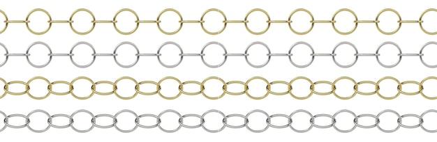 Бесшовные бордюрные цепи, изолированные на белом фоне 3d иллюстрация
