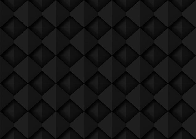 Seamless dark black square grid art design shape pattern wall background.