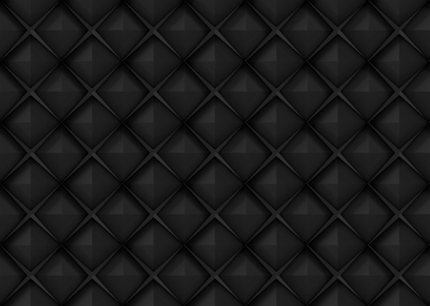 Seamless dark black square grid art design shape pattern wall background.