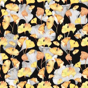 水彩風のシームレス花柄手描き下ろしパターン