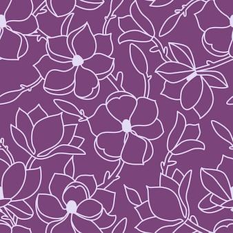 완벽 한 꽃 패턴입니다. 목련의 꽃과 잎으로 그린 선형 손. 라일락 배경에 밝은 개요입니다. 벡터 일러스트 레이 션.