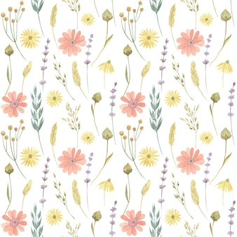 水彩風の野生の花とハーブのシームレスな花柄