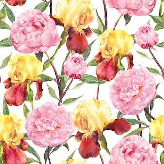 Бесшовный цветочный узор цветы пионов и ирисов. акварель