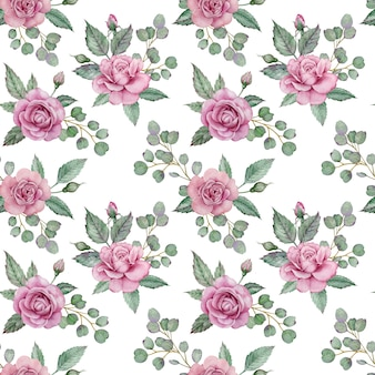 Seamless floral pattern with pink roses and green leaves