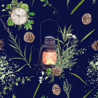 Бесшовный цветочный узор с акварельными лесными растениями и цветами, художественная роспись естественного фона.