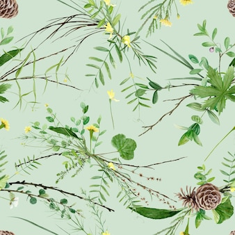 Seamless floral pattern with watercolor forest plants and flowers, artistic painting natural.