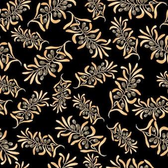 シームレスなゴールドオリーブバンチ生地パターン