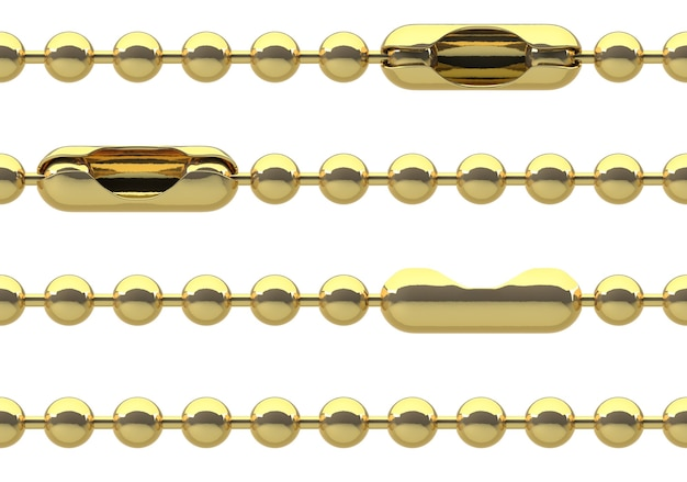 Seamless golden ball chain with lock isolated on white