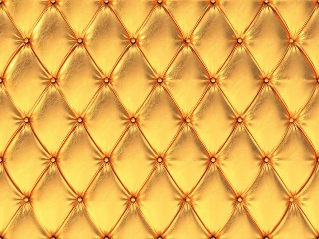 シームレスなゴールデンレザー張りパターン、3 dイラストレーション