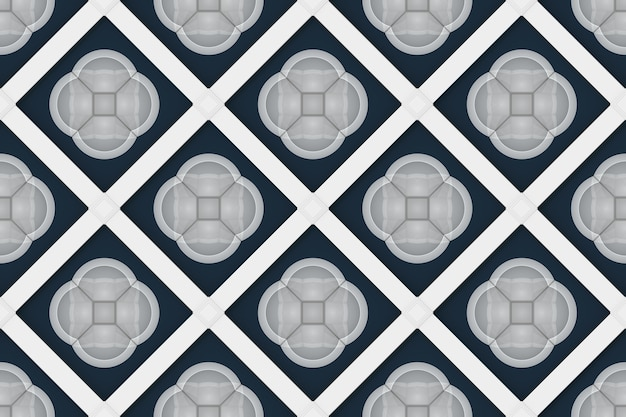 Seamless gray circle flower shape pattern background