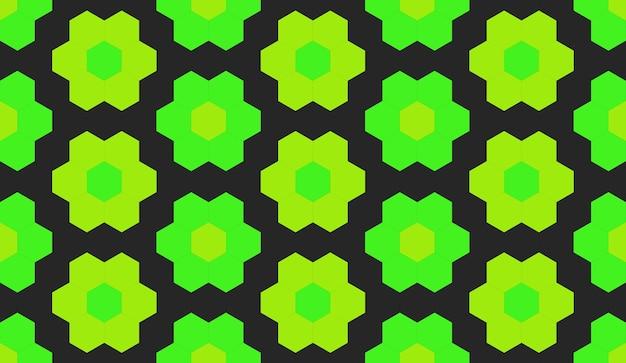 Seamless green hexgonal shape flower pattern wall background.