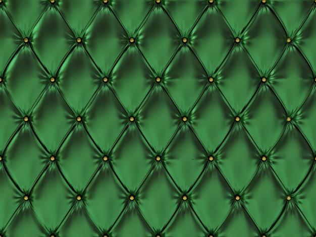 シームレスなグリーンレザー張りパターン、3 dイラストレーション