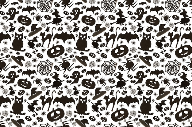 Seamless halloween pattern in cartoon style on white background. paper art. happy hallowen holiday concept.