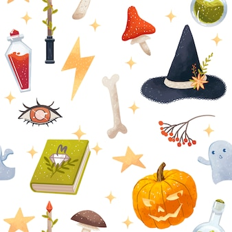 Seamless halloween pattern with witch attributes, pumpkin, hat, poison, mushrooms, magic book, stars, ghosts, bones, eye, magic wand