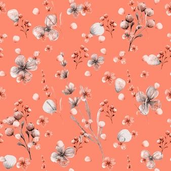 小さな花、果実の枝、ラベンダーとのシームレスな手描きのパターン。