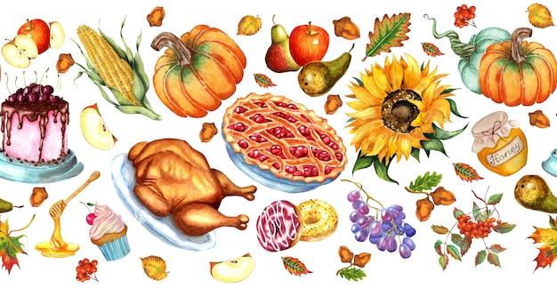 Бесшовные шаблон горизонтальной пищи для праздника.
