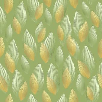 金と銀の箔の質感とシームレスな葉のパターン