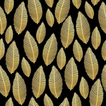 Seamless leaf pattern with gold foil texture on black
