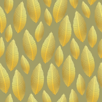 Seamless leaf pattern with gold foil texture