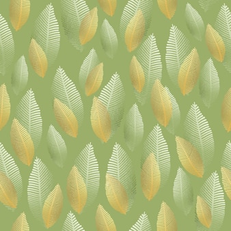 Seamless leaf pattern with gold and silver foil texture