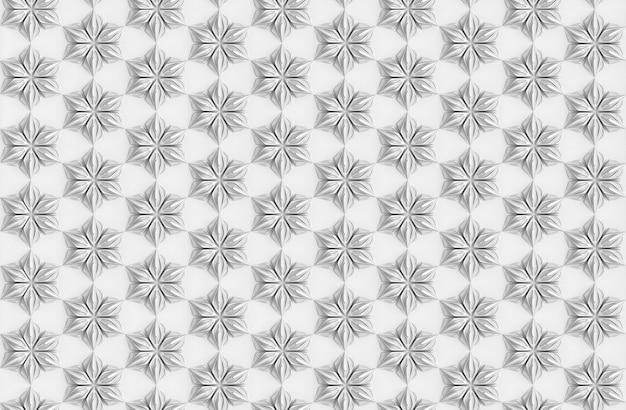 Бесшовная легкая текстура трехмерных элегантных лепестков цветов на основе трехмерной иллюстрации гексагональной сетки