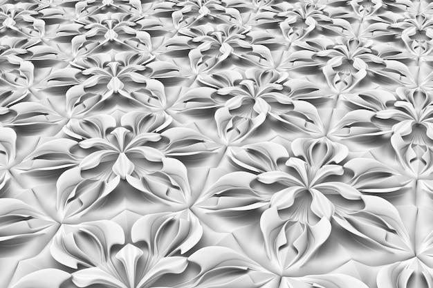 Seamless light texture of three-dimensional elegant flower petals based on hexagonal grid 3d illustration