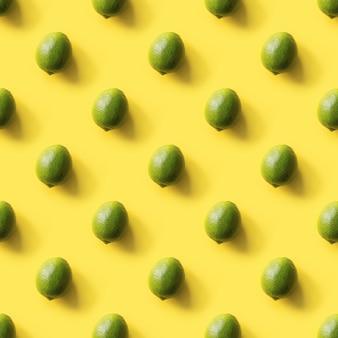Seamless limes pattern on yellow
