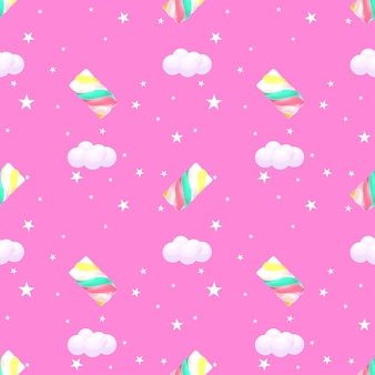 Seamless marshmallow pattern 3d rendered picture