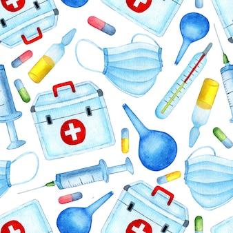 Бесшовный медицинский образец здоровье и наука акварельные иллюстрации, бесконечно повторяющиеся