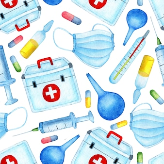 Seamless medical pattern health and science watercolor illustration endlessly repeating