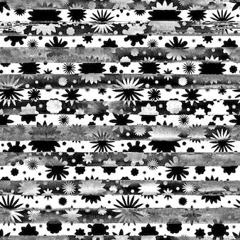 シームレスなモノクロの抽象的な水彩画の黒と白の花の花の縞模様の背景。明るい水彩イラスト。自由奔放に生きるスタイルのテクスチャ。ラッピング、壁紙、テキスタイル用に印刷します。
