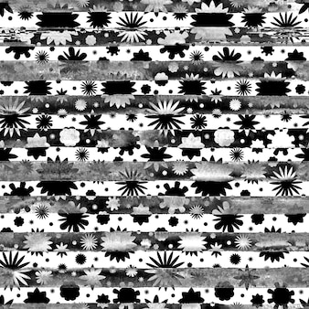 Seamless monochrome abstract watercolor black and white flowers floral striped pattern background. bright watercolour illustration. boho style texture. print for wrapping, wallpaper, textile.