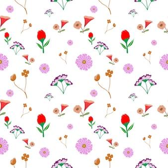 无缝更多花卉图案背景、插画花卉艺术装饰风格和背景概念