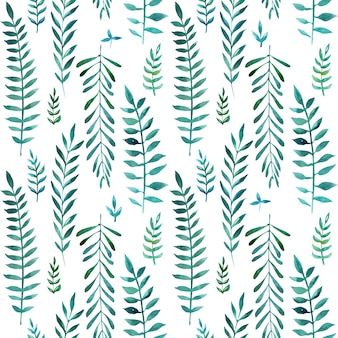 Seamless natural botanical watercolor pattern