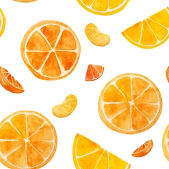 白い分離背景にオレンジ色の水彩絵の具のシームレスです。夏の好きなトロピカルフルーツ。