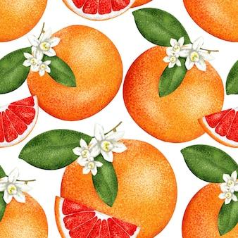 シームレスな塗料グレープフルーツパターン。テキスタイルとファブリック用。柑橘類セット。