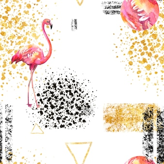 Seamless pattern abstract geometric pattern on white in scandinavian style with flamingo.