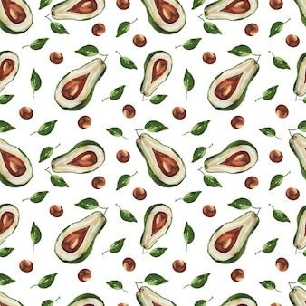 Бесшовный фон авокадо рисованной акварельные иллюстрации.