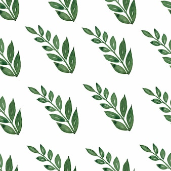 Seamless pattern, background, texture print with light watercolor hand drawn green color  leaves