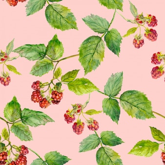 Seamless pattern background with ripe raspberry