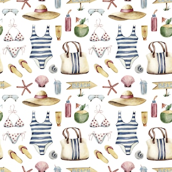 Seamless pattern - beach vacation apparel on white