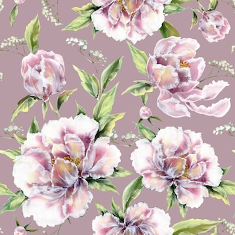 Seamless pattern of beautiful blossom flowers with leaves and buds