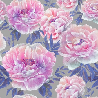 Seamless pattern of beautiful blue blossom flowers with leaves and buds