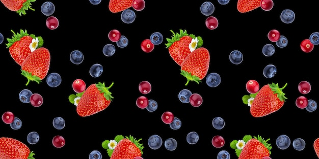 Seamless pattern of berries and strawberries on black background
