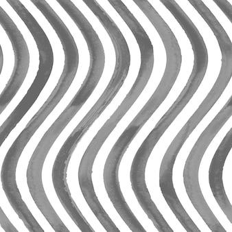 シームレスなパターン。黒と白のグランジ波状縞模様の抽象的な幾何学的な背景。黒のストライプと水彩の手描きのシームレスなテクスチャ。壁紙、ラッピング、テキスタイル、ファブリック