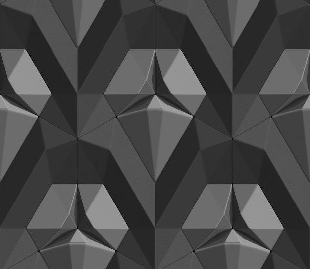 Seamless pattern of black color 3d tiles in the form of hexagon tiles volumetric shape of leather.